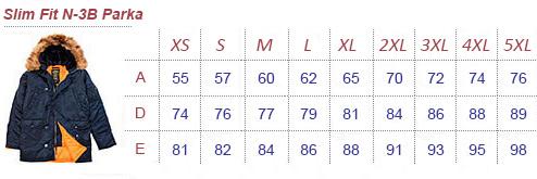 Таблиця розмірів куртки аляски Alpha Industries Slim Fit N-3B Parka