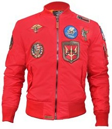 Вітровка Top Gun MA-1 Lightweight Nylon Bomber Jacket With Patches (червона)