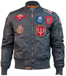 Бомбер Top Gun MA-1 Nylon Bomber Jacket with Patches (сірий)