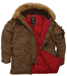 Куртка аляска Alpha Industries Slim Fit N-3B Parka коричнева (brown/red) MJN31210C1