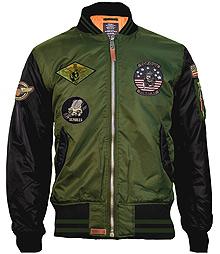 Бомбер Top Gun MA-1 Color Block Bomber Jacket (зелено-чорний)