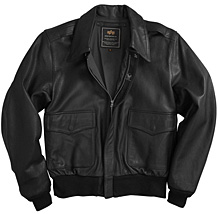 Шкіряна льотна куртка A-2 Goatskin Leather Jacket Alpha Industries (чорна)