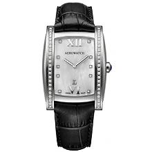 Швейцарський жіночий годинник Aerowatch Idylle Grande 03952AA01DIA black leather strap