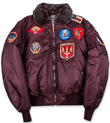 Бомбер Top Gun Official B-15 Flight Bomber Jacket with Patches (бордовий)