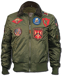 Бомбер Top Gun Official B-15 Flight Bomber Jacket with Patches (olive) TGJ1542P