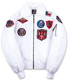 Бомбер Top Gun Official B-15 Flight Bomber Jacket with Patches (white) TGJ1542P