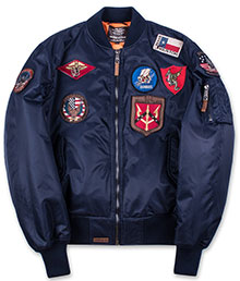 Бомбер Top Gun MA-1 Nylon Bomber Jacket with Patches (синій)