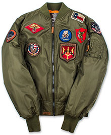 Бомбер Top Gun MA-1 Nylon Bomber Jacket with Patches (olive) TGJ1540
