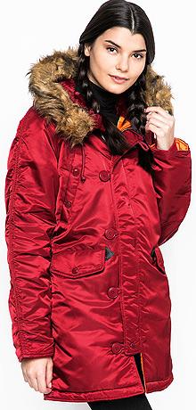 Зимова жіноча куртка аляска Alpha Industries N-3B W Parka (Commander Red) WJN44502C1
