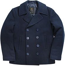 Морське пальто бушлат Alpha Industries Navy Pea Coat (Navy) MJN45032C1