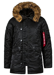 Куртка аляска Alpha Industries Slim Fit N-3B Parka чорна (black/orange w/brown fur) MJN31210C1