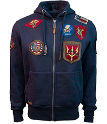 Реглан Top Gun Men's zip up hoodie with patches (синій)