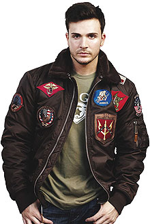 Бомбер Top Gun Official B-15 Flight Bomber Jacket with Patches (коричневий)