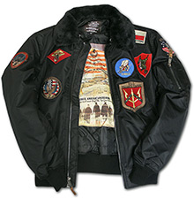 Бомбер Top Gun Official B-15 Flight Bomber Jacket with Patches (чорний)