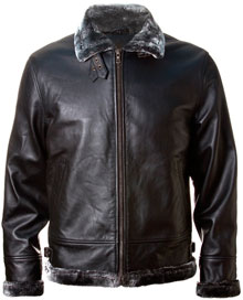 Шкіряна куртка Топ Ган Top Gun Leather Jacket with Bonded Fur (Black) TG1505