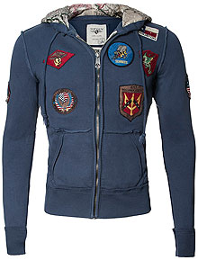 Реглан Top Gun Zip-Up Military Patched Hoodie (синій)
