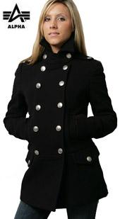 Ladies Wool Long Peacoat Alpha Industries (чорне)