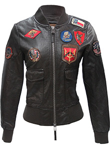 Жіночий бомбер Top Gun Women's Vegan Leather Bomber Jacket (коричневий)